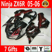 Comression Mold For Kawasaki Ninja ZX-6R ABS bodykits for ZX-6R 2005 2006 Kawasaki Ninja 636 ZX 6R fairings kit ZX636 05 06 ZX6R red flame black custom motobike parts 7 Gifts TQ100