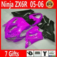 Comression Mold For Kawasaki Ninja ZX-6R ABS bodykits for ZX-6R 2005 2006 Kawasaki Ninja 636 ZX 6R fairings kit ZX636 05 06 ZX6R matte black red custom motobike parts 7 Gifts GH1