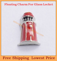 Charms   Free shipping 2014 new cute enamel Red Lighthouse origami owl floating charms for living magnetic memory glass lockets FC306