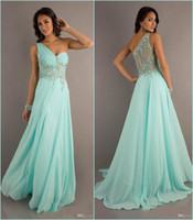 Wholesale 2014 Exquisite Crystal Beaded Prom Dresses One Shoulder Sheer Back A Line Floor Length Chiffon Evening Pageant Gowns