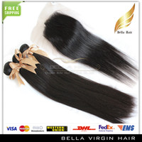 "Brazilian Hair Straight AAAA Lace Closure With Bundles 100% Brazilian Full Head 4pcs Unprocessed Human Hair Weave Natural Color Silky Straight 10""-30"""