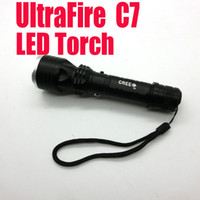 Wholesale Best selling LED Aluminum Torch Ultrafire C7 LED Torch Flashlight shocker Light Lamp lumens zoomable seven eleven