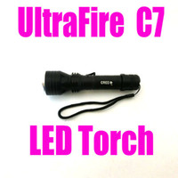 Wholesale LED Aluminum Torch Ultrafire C7 LED Torch Flashlight shocker Light Lamp lumens zoomable seven eleven