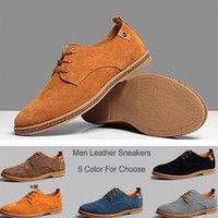 Lace-Up Men Spring and Fall Big Size 38~47 British Suede Leather Men casual shoes pop hand edition low Men Casual sneakers suede men's flats Breathable Skateboard Shoes