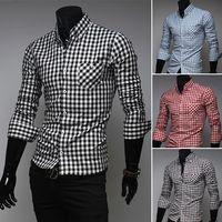 casual shirts for men - mens shirt Long sleeve fine plaid brand dress shirt men Business man casual shirts for men