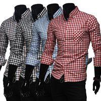 Men casual shirts for men - Hot Sale mens shirt Long sleeve fine plaid brand dress shirt men Business man casual shirts for men