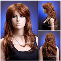 Wholesale dark auburn long wigs for women pro wig shops online long curly women wig buy wig usa wigs