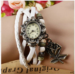 Wholesale Women Genuine Leather Vine Watch bracelet Wristwatches Hot Roses vine watch Retro diamond bracelet watches Colors With in Stock