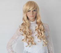 Wholesale High temperature wire oblique bangs long hair fluffy female golden hair model cm sex doll accessories