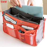 Women handbag organizer - 10 colors Bag in Bag Dual Insert Multi function Handbag Makeup Pocket Organizer Purse ZD21