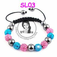 Caliente shambala pulseras de Macrame de la bola de discoteca allanar perlas de cristal pulseras de la joyería de la banda SL03 baratos de China de la moda de joyería De Imgirl