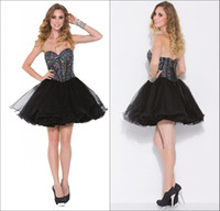 Reference Images Tulle Sweetheart Newest Fashion Little Black Tulle A-line Mini Crystal Beaded Corset Lace Up Back Homecoming Dresses Short Prom Party Gowns HOM-445
