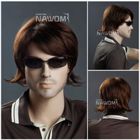 Wholesale nawomi high quality men wig synthtic wigs short brown wigs online wig maker real looking hair wig