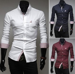 Wholesale 2014 HOT new Korea slim men s shirts Plaid mens shirts Casual long sleeve men s shirts white crv