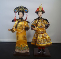Wholesale 100 handicraft Oriental Broider Doll Pair Chinese Qing emperor empress statue Height inch set
