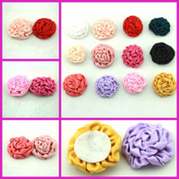 Headbands Linen Floral Children DIY 3.5CM Flower For Hairband Kids Satin Rolled Ribbon Rose Floral Polyester Fabric Rosettes Flower 100PCS LOT