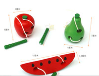 Wholesale 2014 New Montessori teaching aids baby worms eat the fruit puzzle wooden toy safety and environmental protection channeling rope toys