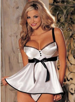 Wholesale M L XL Free size colors Plus size bigger size Sexy baby doll lingerie Women sleep wear Bride lingerie chemise pink white