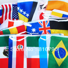 Free Shipping 2014 Brazil WORLD CUP BUNTING of FLAGS ALL 32 TEAMS Flag 21x14cm 3set lot