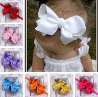 Wholesale Baby Bows Elastic Headband Hair Accessories For Girls CM Satin Flowers Bowknot