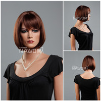 Wholesale full cap women wigs hot bob wig with bangs short brown wigs for women synthtic hair wigs realistic wigs