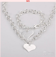 Wholesale New Fashion Jewelry Styles Mix Orders Silver Charms Pendants Links Chain Necklace amp Bracelet Set
