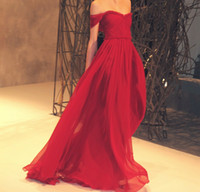 Wholesale Perfect Off Shoulder Red A line Chiffon Evening Dress Evening Gown Dance Dress Party Dress