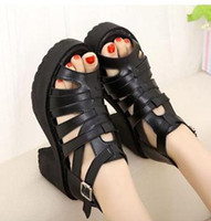 Wholesale 2014 New Summer Chunky Heel Sandals Sexy Women Gladiator Sandals Platform Hollow Out Muti Strappy Shoes Size to ePacket