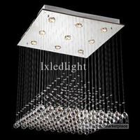 Modern Hotel Red Wholesale - Modern Square Crystal Pendant Lamp Ceiling Light Rain Drop Chandelier Lighting