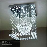 Cheap Wholesale - Modern Square LED Crystal Pendant Lamp Round Ceiling Light Rain drop Chandelier