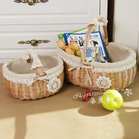 fruit gift baskets - Liubian zakka rattan fruit basket picnic basket egg basket flower basket shopping basket storage basket gift