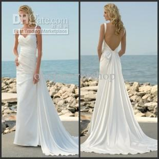 2014 Spaghetti Strap Backless Bridal Gown Bow Ruffled Satin Full ...