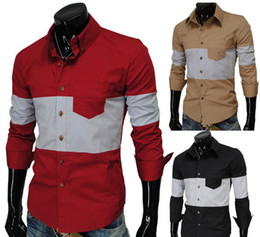 Wholesale Men s casual fashion solid color shirt free ship cool fashion men s shirt and very popular make soft