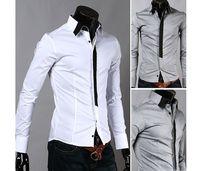 Wholesale Casual False Tie Slim Fit Stylish Long Sleeve designer Men s Shirts Luxury White M L XL