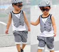 Wholesale Baby boys suit pc set kids Children vest t shirt shorts boys suits liy