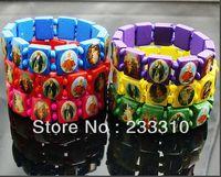 Charm Bracelets   60PcsX Wooden Jesus Bracelet Wristband Wooden Saints Rosary Religious Bangle