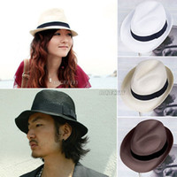 Wholesale 2014 New Style Mens Womens Fedora Panama Tribly Summer Sun Straw Fedora Crushable Cap Hat wx49