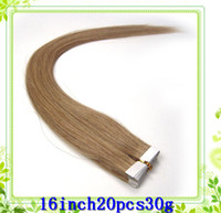 Wholesale 16inch30g Indian remy Skin Weft Hair Extensions straight silky Straight Tape Human Hair Extensions