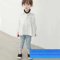 Wholesale 2014 Long sleeved Shirts Washed jeans trousers denim water scrubbing shirt Girls cotton Kids Baby Spring