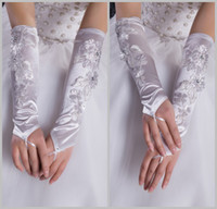 Wholesale Fashion White Stain Applique Beaded Fingerless Blew Elbow Length Wedding Bridal Gloves EM00001