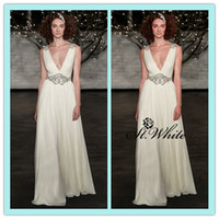 Wholesale New Backless Beach Wedding Gowns V Neck White Ivory Beads Crystal Hot Sexy Applique Chiffon Sweep Train Elegant A Line Bridal Dresses