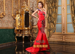 Wholesale Free transport of Chinese traditional clothing unique phoenix design satin dress cocktail dresses stage