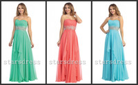 Reference Images Chiffon Beads Coral Clover Jade Chiffon Ruched Prom Dresses Strapless Floor-length Sheath Column Backless Junior Bridesmaid Dresses with Beaded