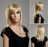 Wholesale Hot Selling European female Blonde fashion wig Medium long straight blond lady wigs make you more beautiful and cheap wigs
