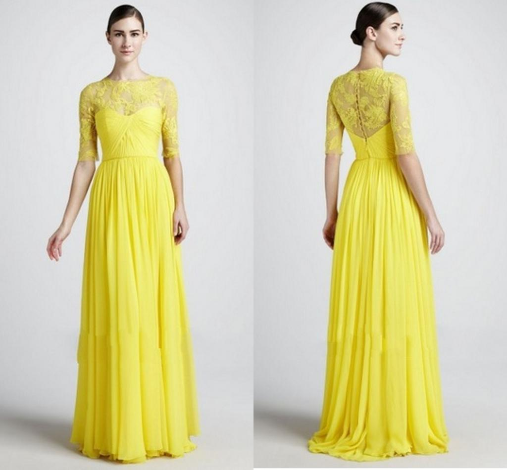 Hot sale yellow bridesmaid dress with half sleeve zuhair for Yellow wedding dresses for sale