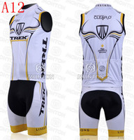 Wholesale 2014 hot sale outdoor road bodysuit team trek cycling jersey white bib sleeveless men bicycle clothing