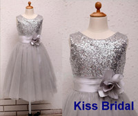 Wholesale Cute silver baby flower girls dresses princess handmade flowers sequin tulle tea length formal occasion prom gowns bridal real image