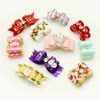 Wholesale Handmade Pets Grooming Accessories Mixed Ribbon Hair Bow Dog Rubber Bands Hair Bows Dog Show Supplies
