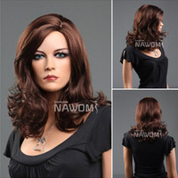 Wholesale Big Wave Female Elegant Wig Fashion Long Curly Big Wave Dark Brown Hair Wigs beautiful and cheap Brown hair wigs