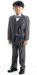 Wholesale dark grey kid s formal outfits children s formal dress attire suits jacket vest bow tie pants